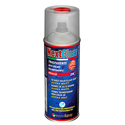 NextClear Mate - Barniz spray bicomponente Extra Mate Alto Sólido 400 ml